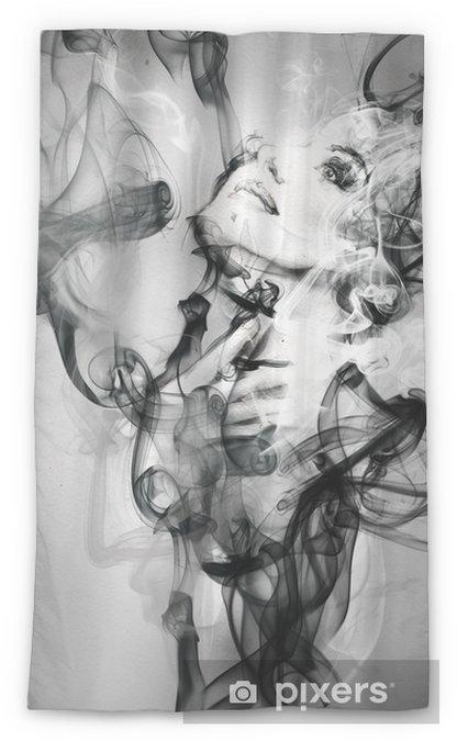 Zasłona okienna przepuszczająca światło Abstrakcyjny portret kobiety. Akwarele ilustracji - Moda
