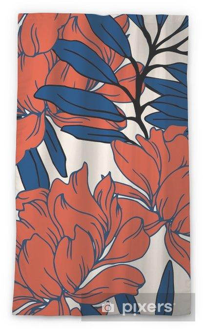 Zasłona okienna przepuszczająca światło Abstrakcyjny wzór elegancji z kwiatów tle. - Rośliny i kwiaty