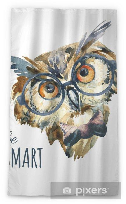 Zasłona okienna przepuszczająca światło Akwarela hipster sowa w okularach - Zwierzęta