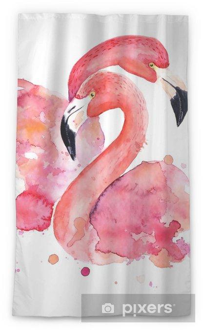 Zasłona okienna przepuszczająca światło Akwarela różowe flamingi - Hobby i rozrywka