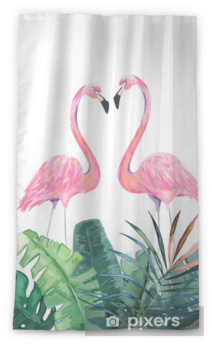 Zasłona okienna przepuszczająca światło Para różowe flamingi. tropikalny druk na zaproszenie, urodziny, uroczystości, karty z pozdrowieniami. ilustracji wektorowych - Zwierzęta