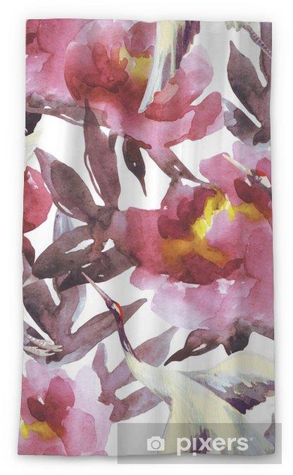 Zasłona okienna przepuszczająca światło Ręcznie malowane akwarela peonie i ptaki żuraw - Rośliny i kwiaty