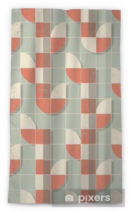 Zasłona okienna przepuszczająca światło Wektor kolorowy streszczenie retro wzór geometryczny - Zasoby graficzne
