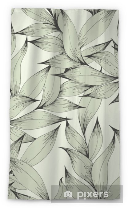 Zasłona okienna przepuszczająca światło Wektor wzór z gałęzi i liści. rysunek odręczny. dekoracyjny wzór dla projektu - Rośliny i kwiaty