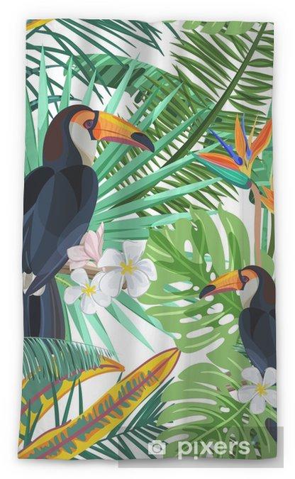 Zasłona okienna przepuszczająca światło Wektor wzór z zielonych liści tropikalnych palm, kwiatów hibiskusa i Tukan ptak. tło natury. letnie lub wiosenne modne elementy do modowych nadruków tekstylnych i kart okolicznościowych. - Zwierzęta