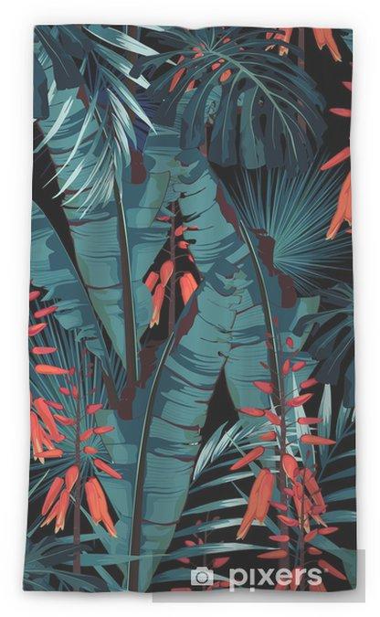 Zasłona okienna przepuszczająca światło Wzór bez szwu kwiatowy wzór w stylu akwareli: soczyste w rozkwicie z pomarańczowymi kwiatami i liśćmi palm i bananów. nowoczesny, jasny wzór druku letniego. wydruk na czarnym tle. - Rośliny i kwiaty