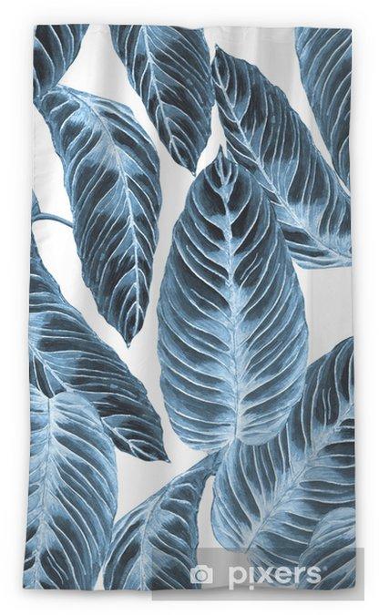 Zasłona okienna przepuszczająca światło Wzór tropikalny liści. kolorowe liście roślin egzotycznych calathea warscewiczii, odcienie niebieskiego trend na białym tle. ręcznie robione akwarela ilustracja. - Zasoby graficzne