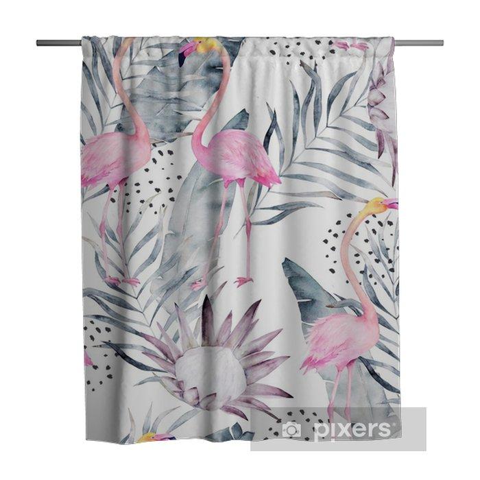 Zasłona prysznicowa Abstrakcyjny tropikalny wzór z flamingo, protea, liście. akwarela bez szwu wydruku. ilustracja minimalizm - Zasoby graficzne