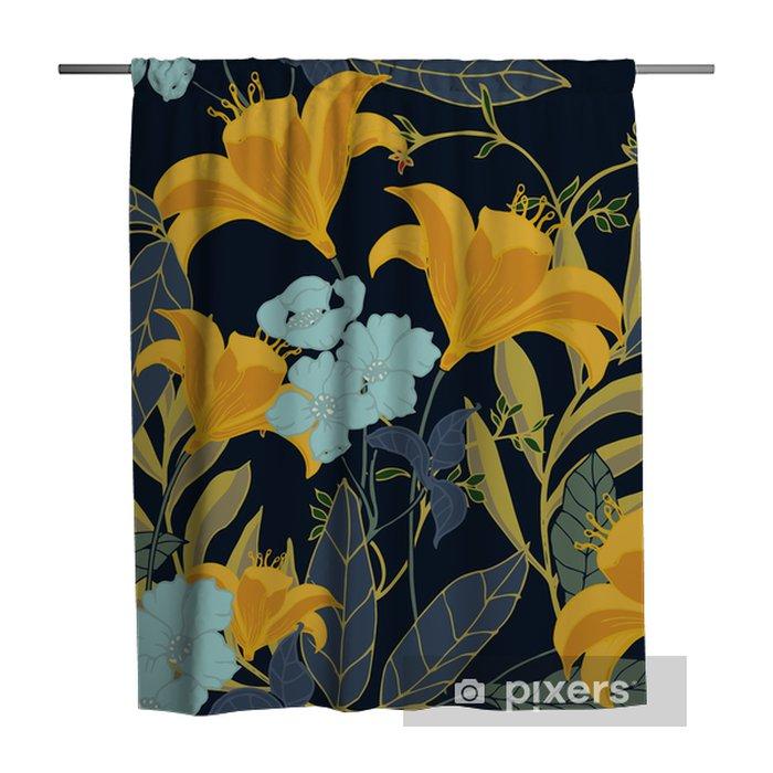 Zasłona prysznicowa Abstrakcyjny wzór elegancji z kwiatów tle. - Rośliny i kwiaty