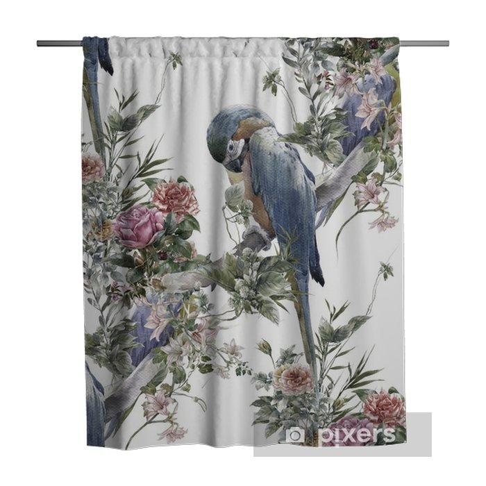 Zasłona prysznicowa Akwarela malarstwo z ptaków i kwiatów, wzór na białym tle - Zasoby graficzne