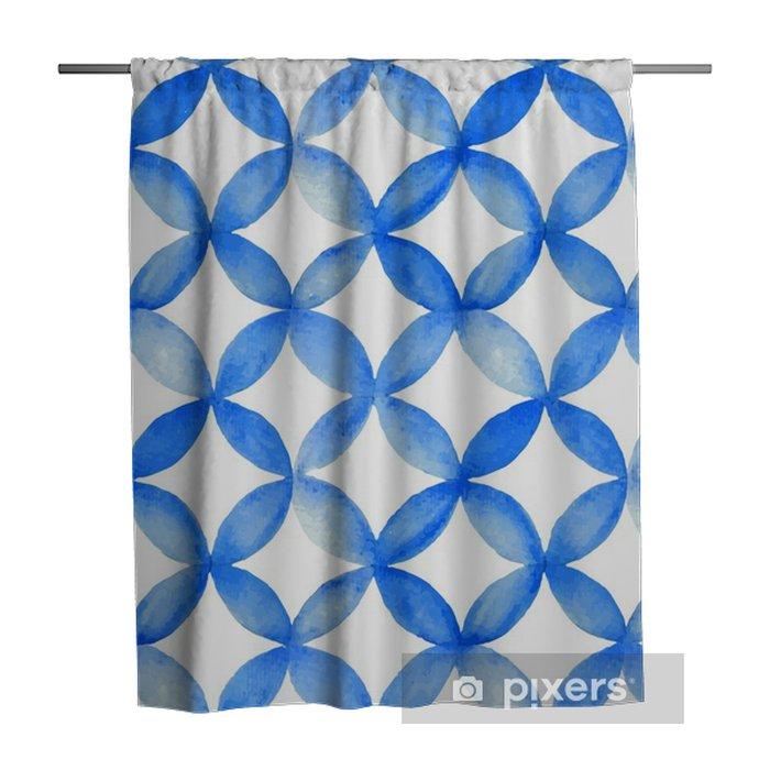 Zasłona prysznicowa Akwarela niebieski wzór japoński. - Zasoby graficzne