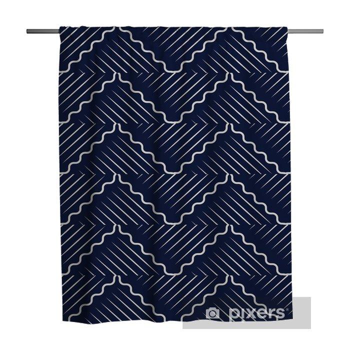 Zasłona prysznicowa Bezszwowe niebieskie tło chińskie orientalne krzywej fali krzyża geometrii linii - Zasoby graficzne