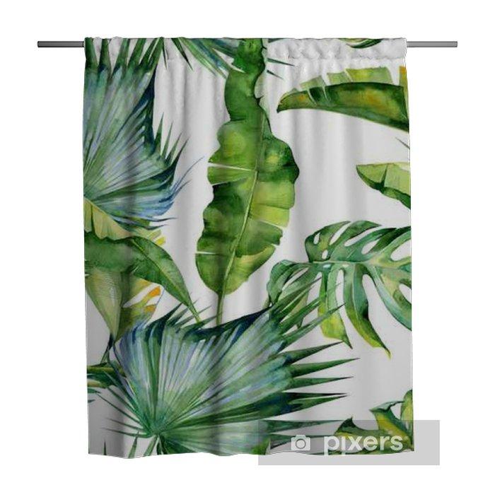 Zasłona prysznicowa Bezszwowych akwareli ilustracji tropikalnych liści, gęste dżungli. Wzór z motywem lato tropików może być używany jako tekstura tła, papier pakowy, tekstylia, projekt tapety. - Rośliny i Kwiaty