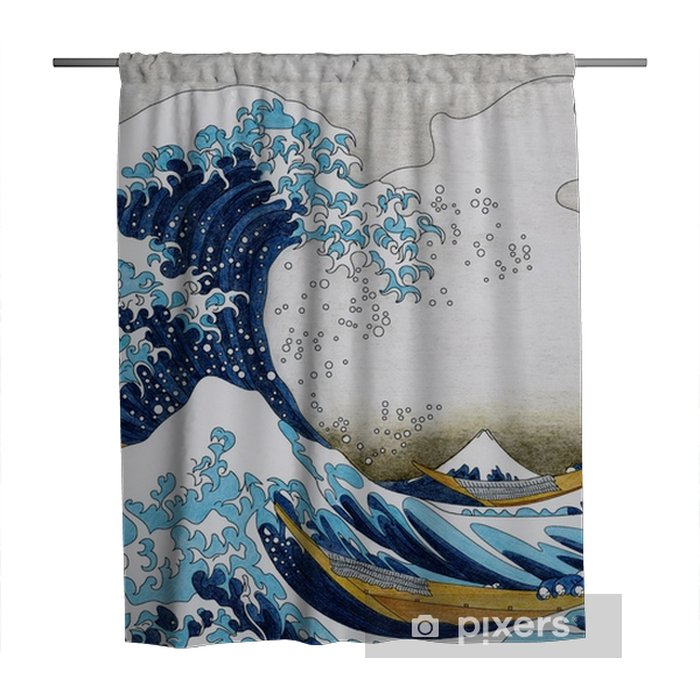 Zasłona prysznicowa Hokusai wielka fala kolorowanki dla dorosłych kanagawa - Zasoby graficzne