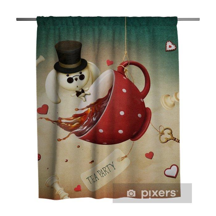 Zasłona prysznicowa Ilustracja fantazji z czerwoną filiżankę herbaty i królika - Zasoby graficzne