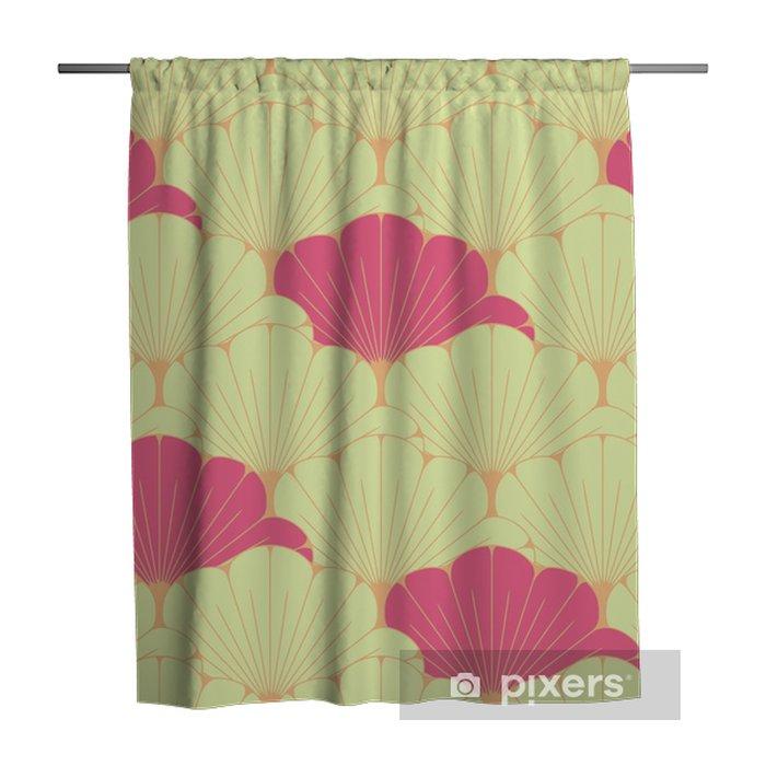 Zasłona prysznicowa Japoński styl bez szwu dachówka z egzotycznym wzorem liści w kolorze różowym - Zasoby graficzne