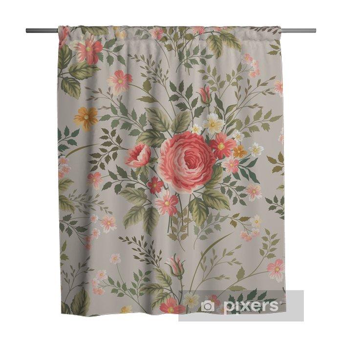 Zasłona prysznicowa Jednolite kwiatowy wzór z różami - Kwiaty