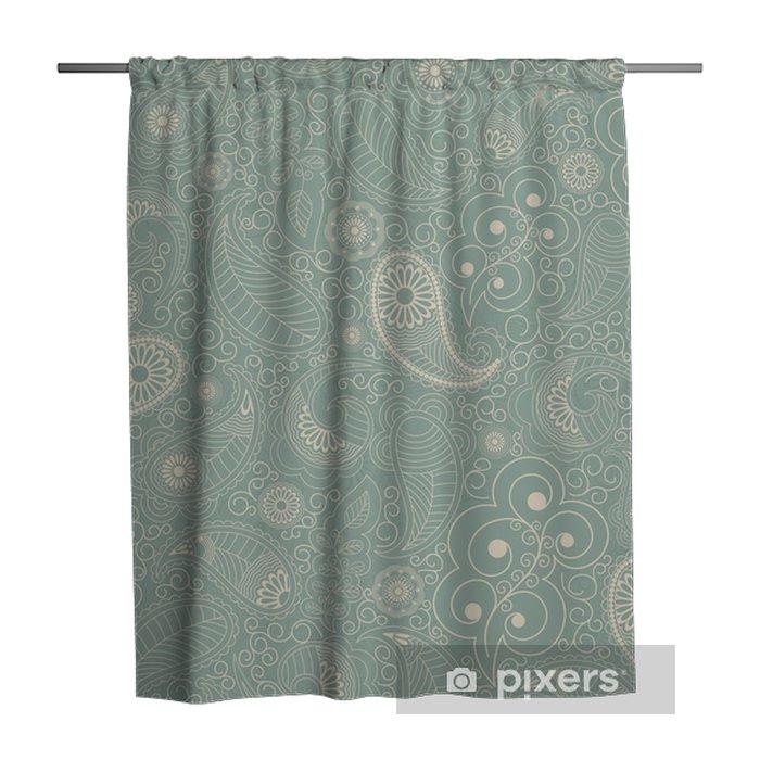 Zasłona prysznicowa Jednolite tło z zielonych kwiatów - Zasoby graficzne
