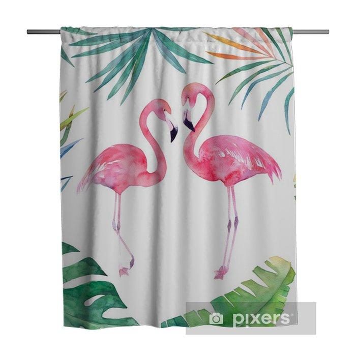Zasłona prysznicowa Karta akwarela z ramą liści i dwa flamingi. ręcznie rysowane ilustracji - Zasoby graficzne