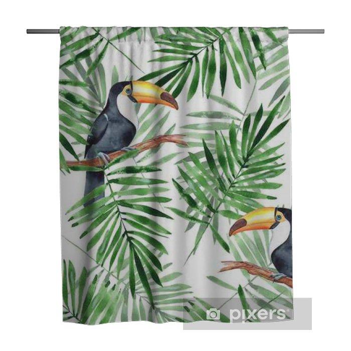 Zasłona prysznicowa Liście palmowe i tukan. akwarela bezszwowe wzór 4 - Zasoby graficzne