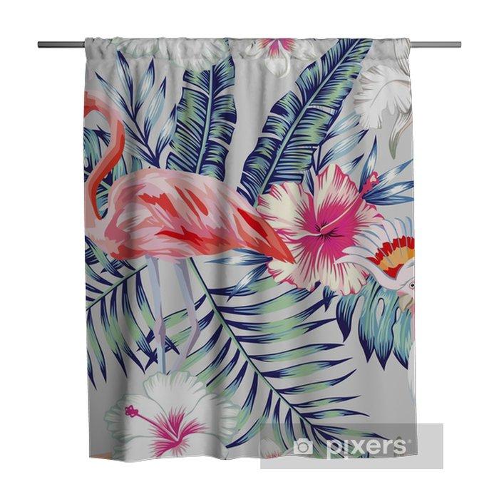 Zasłona prysznicowa Orchid hibiscus flamingo wzór światła papuga - Zwierzęta