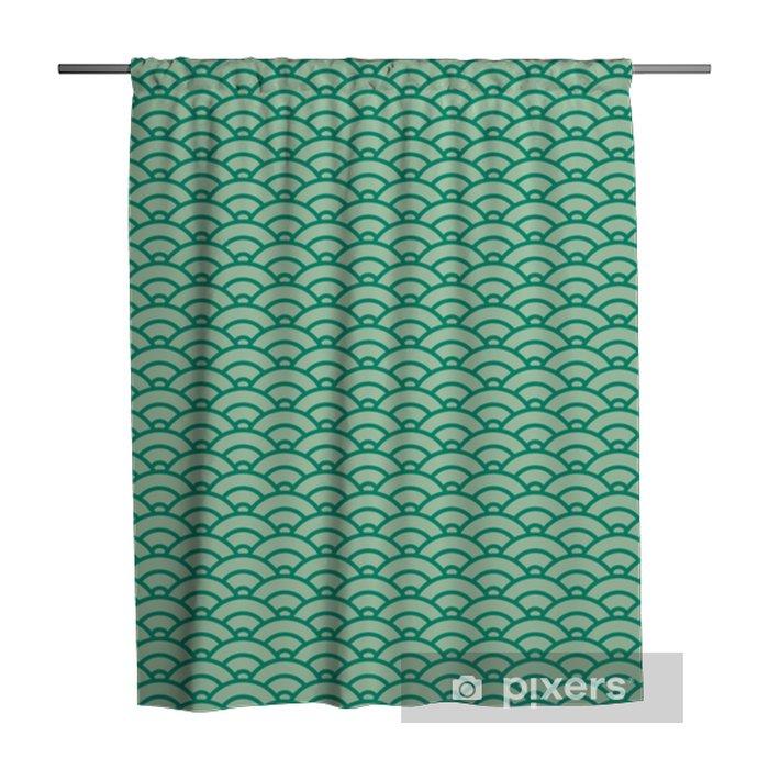 Zasłona prysznicowa Podstawowy wzór japońskiej fali. zielony schemat kolorów - Zasoby graficzne