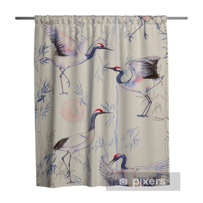 Zasłona prysznicowa Ręcznie rysowane Akwarele szwu z białych japońskich żurawi tańca. Powtarzające się tło z delikatnymi ptaków i bambusa - Zwierzęta