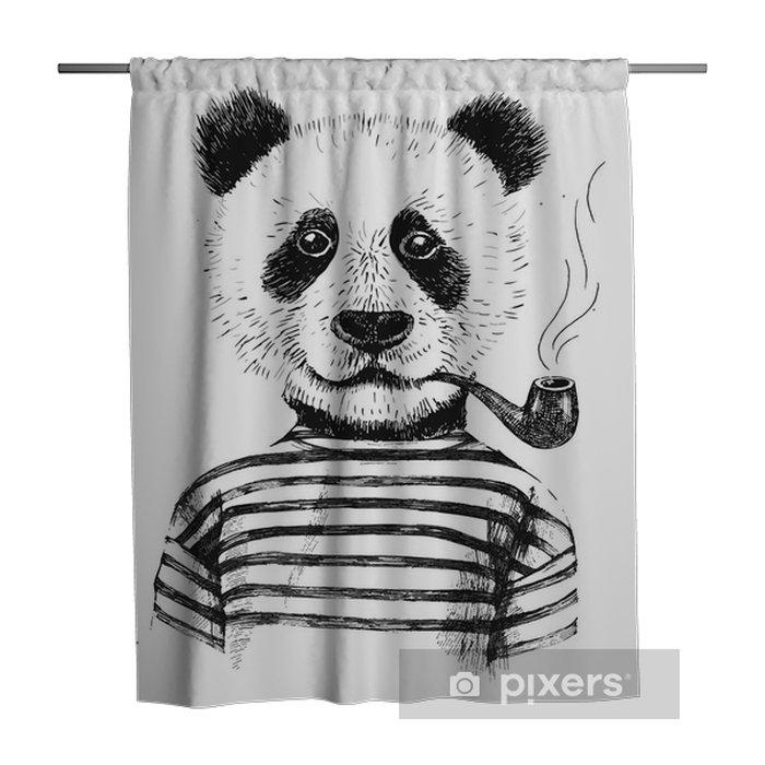 Zasłona prysznicowa Ręcznie rysowane ilustracji hipster panda - Zwierzęta