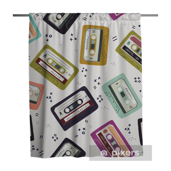 Zasłona prysznicowa Ręcznie rysowane kaseta wzór taśmy - Technologia