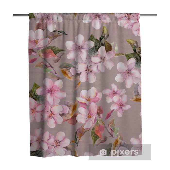 Zasłona prysznicowa Różowe jabłko, kwiaty wiśni (sakura). bez szwu kwiatowy szablon. akwarela na szarym tle - Zasoby graficzne