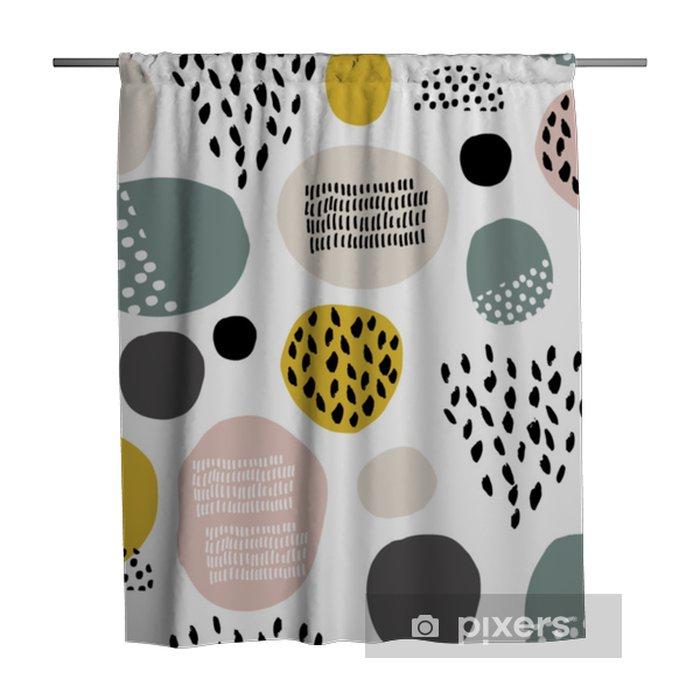 Zasłona prysznicowa Szwu wzór fdashion z ręcznie rysowane plamy, kropki, tekstury pędzla. twórcze nowoczesne tekstury. doskonale nadaje się do tkaniny, ilustracji wektorowych włókienniczych - Zasoby graficzne