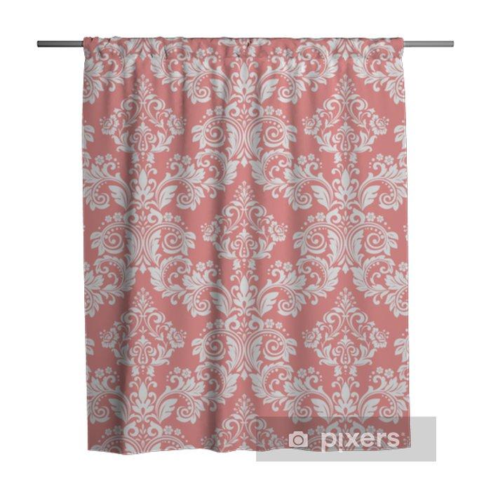 Zasłona prysznicowa Tapeta w stylu barokowym. bezszwowe tło wektor. biały i różowy kwiatowy ornament. graficzny wzór tkaniny, tapety, opakowania. ozdobny kwiat adamaszku - Zasoby graficzne