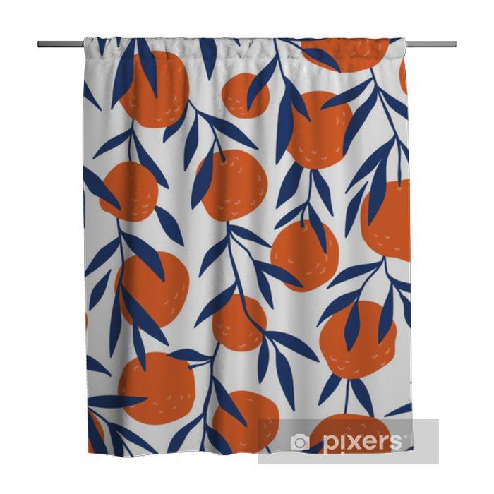 Zasłona prysznicowa Tropikalny wzór z czerwonych pomarańczy. owoce powtarzane tło. wektor jasny druk na tkaninie lub tapecie. - Zasoby graficzne