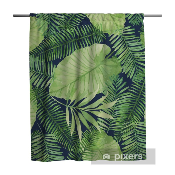 Zasłona prysznicowa Tropikalny wzór z liści. tło akwarela z tropikalny liści. - Rośliny i kwiaty