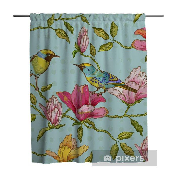Zasłona prysznicowa Vintage szwu tła - kwiaty i ptaki - Pory roku