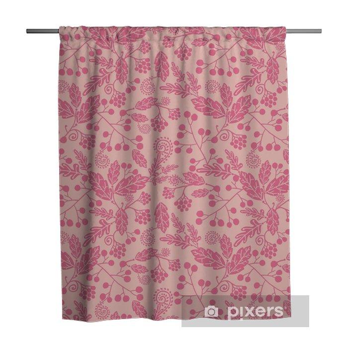 Zasłona prysznicowa Wektor, sylwetka, kwiaty elegancki różowy wzór bez szwu - Rośliny i kwiaty