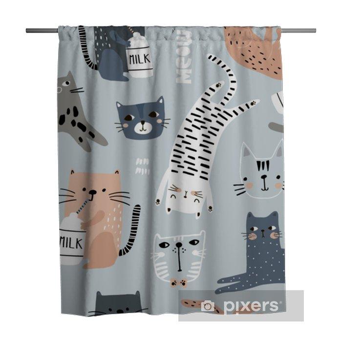 Zasłona prysznicowa Wzór z różnych śmieszne koty. twórcza dziecinna tekstura. doskonale nadaje się do tkaniny, ilustracji wektorowych włókienniczych - Zasoby graficzne