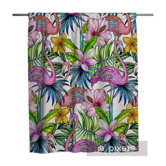 Zasłona prysznicowa Wzór z tropikalnych kwiatów i flamingo. - Rośliny i kwiaty