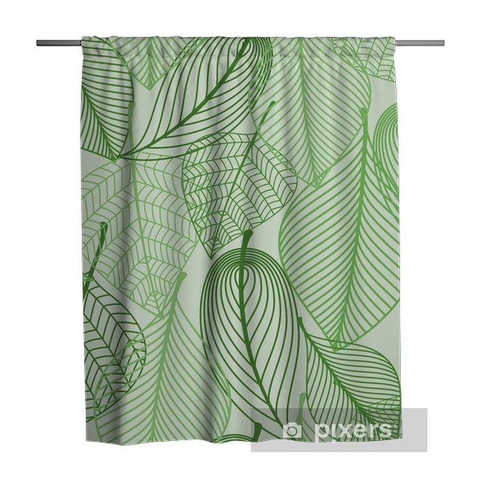 Zasłona prysznicowa Zielone liście bezszwowe tło wzór - Style