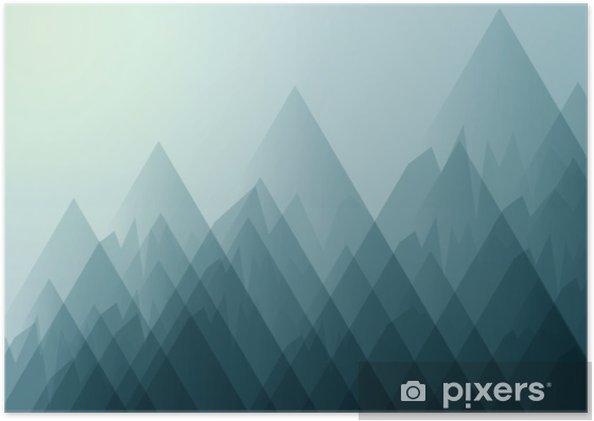 Zelfklevende Poster Aardlandschap met bergen en blauwe hemel abstracte achtergrond Vector illustratie. - Grafische Bronnen