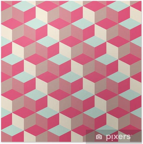 Zelfklevende Poster Abstract kubieke geometrische patroon achtergrond - Thema's