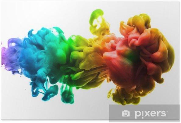 Zelfklevende Poster Acrylkleuren en inkt in water. abstracte frame achtergrond. geïsoleerd op wit. - Grafische Bronnen