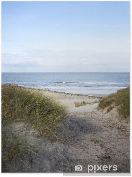 Zelfklevende Poster Als gevolg van de duinen naar het strand - Nederland