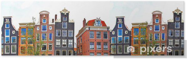 Zelfklevende Poster Amsterdam. traditionele huizen grens - iStaging