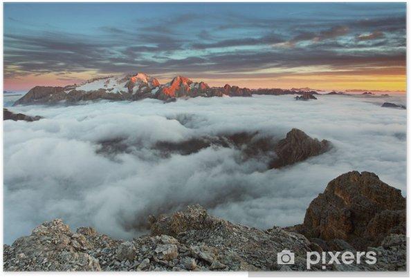Zelfklevende Poster Berg Marmolada bij zonsondergang in Italië alpen Dolomieten - Panorama's
