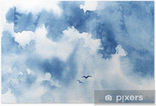 Zelfklevende Poster Blauwe aquarel wolk, vogels en de hemel. Lente, zomer achtergrond. - Landschappen