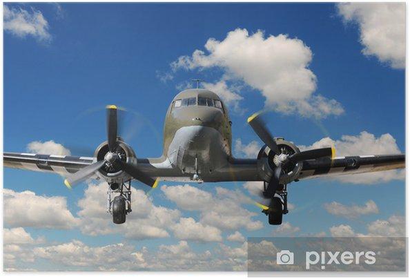 Zelfklevende Poster C-47 Vinteg Plane Landing - Thema's