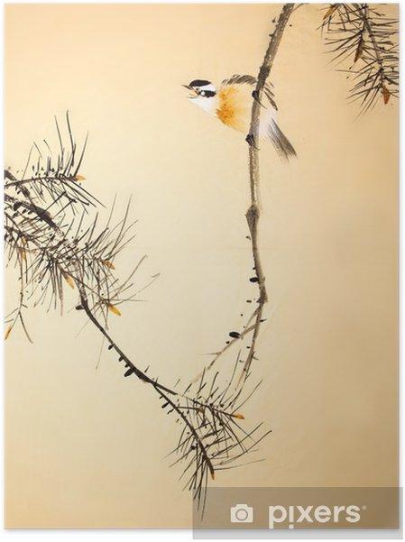 Zelfklevende Poster Chinese inkt schilderij vogel en planten - Dieren