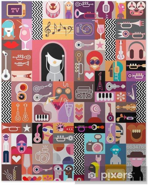 Zelfklevende Poster Collage van de Kunst / Samenstelling van de Kunst - Mensen