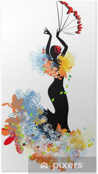 Zelfklevende Poster Flamenco danser met fan - Thema's